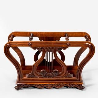 An unusual late Regency rosewood music roll holder