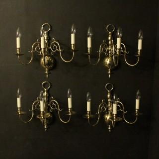 English Set Of 4 Brass Antique Sconces