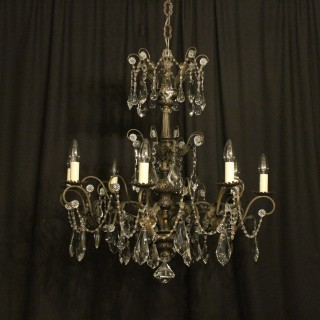 Italian Silver 8 Light Antique Chandelier