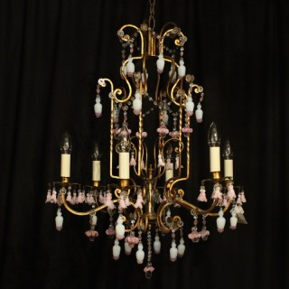 Italian Florentine 6 Light Cage Chandelier