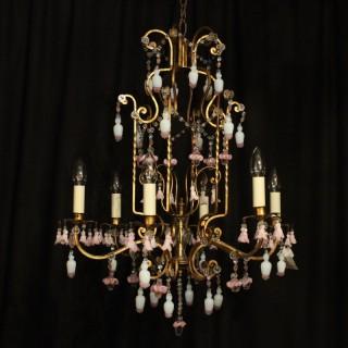 Italian Florentine 6 Light Cage Chandelier