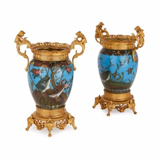 Antique  pair of Japanese Meiji period cloisonné enamel vases with French gilt bronze mounts