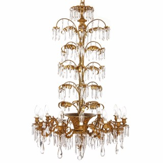 Belle Epoque style French gilt bronze and cut glass antique twelve-light chandelier
