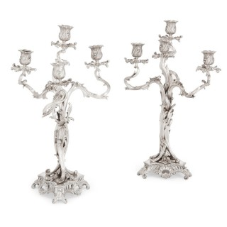 Pair of antique French Louis XV style silver candelabra by Ernest Cardeilhac