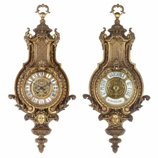 French Baroque style antique gilt bronze clock and barometer set by Beurdeley