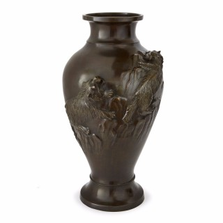 Antique Japanese bronze baluster vase from the Meiji period
