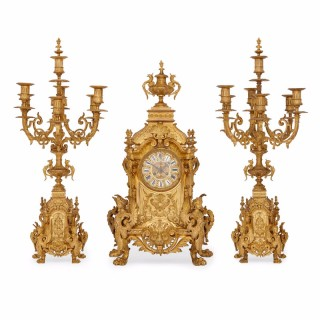 Large gilt bronze antique  French three piece clock set by Henri Jondet