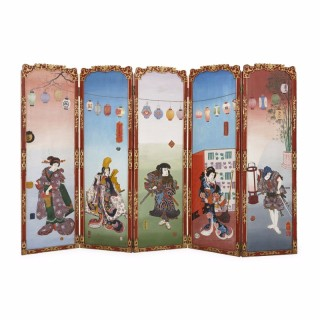 Antique French painted wood five panel folding screen in the Japonism style
