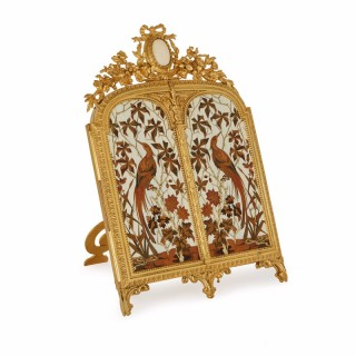 Antique ormolu and inlay triptych table mirror by Giroux and Duvinage