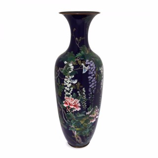 Meiji period antique large Japanese vase with cloisonné enamel