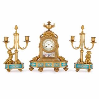 Raingo Frères porcelain mounted ormolu antique three-piece clock set