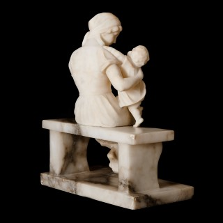 Italian antique alabaster sculpture of a woman and child by Guglielmo Pugi