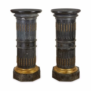 Antique pair of ormolu and black marble  pedestals in the Neoclassical style