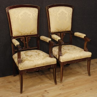 20th Century Pair Of Spanish Armchairs In Modernist Style