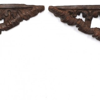 Large Pair of 17th century pine carvings forming an arch