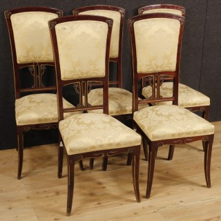 20th Century Group Of 5 Spanish Chairs In Modernist Style