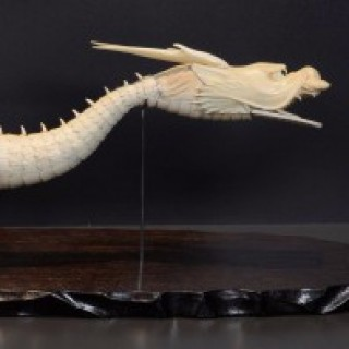 LARGE FULLY ARTICULATED JAPANESE IVORY DRAGON ( JIZAI ) OKIMONO ON STAND