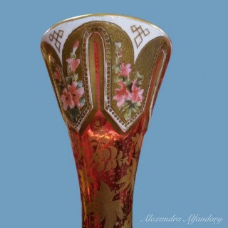 A very decorative ruby coloured pair of Bohemian glass vases