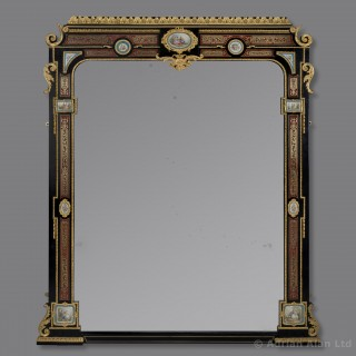 Boulle Inlaid Mirror With Porcelain Plaques