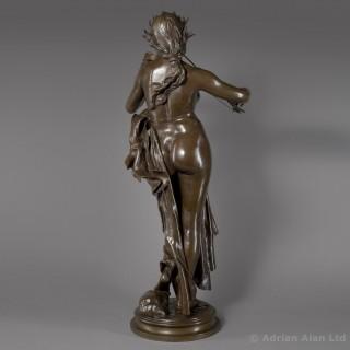 'The Violinist'  - Patinated Bronze Figural Sculpture