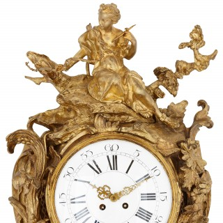 Antique ormolu French cartel clock in the Neoclassical style