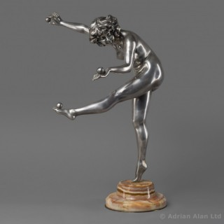 'The Juggler' - Art Deco Silvered Bronze Figure