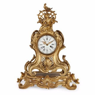 Antique Chinoiserie ormolu mantel clock by Charles du Tertre
