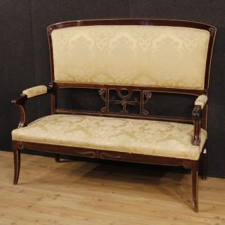 20th Century Spanish Sofa In Mahogany Wood
