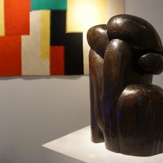 Wang Keping, Couple, patinated bronze sculpture, 54 x 30 x 34cm
