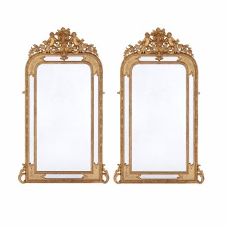 Pair of antique French Neoclassical style rectangular giltwood mirrors