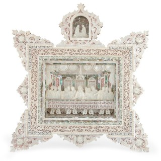 Antique large mother-of-pearl Holy Land icon of the Last Supper