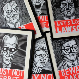 A Humorous Group Of Six Framed English Political Satire Woodblock