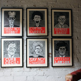 A Humorous Group of Six Framed English Political Satire Woodblock Print Posters c.1987