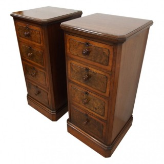 Pair of Victorian Figured Walnut Chest of Drawers / Bedsides