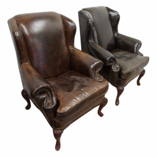 Georgian Style Wingback Chairs in Brown Leather
