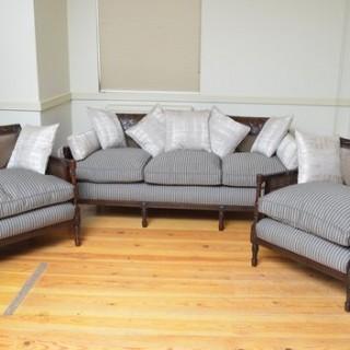 Fine Edwardian Mahogany 3 Piece Bergere Suite