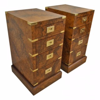 Pair of Burr Walnut Military Chest of Drawers or Bedsides