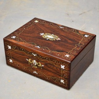 Early Victorian Rosewood Jewellery Box  2 Trays