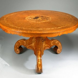 Late Regency Amboyna centre table, attributed to the workshop of Edward Holmes Baldock