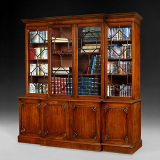 George III Mahogany Library Breakfront Bookcase