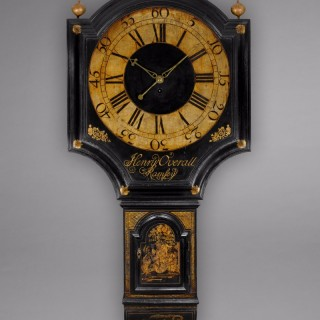 George III period Black Lacquer Tavern Clock by Henry Overall, Ramsey