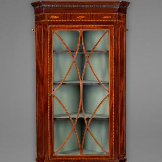 George III Mahogany and inlaid hanging corner cabinet