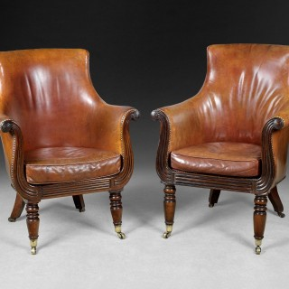 Pair of Regency Gillows of Lancaster and London Mahogany Library Armchairs