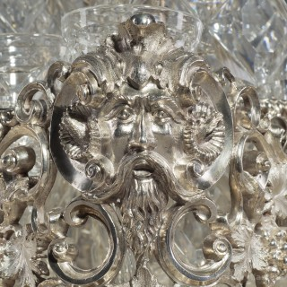 Victorian Silver and Cut-Glass Liqueur Set