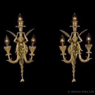 Napoléon III Gilt-Bronze Three-Light Wall Appliques