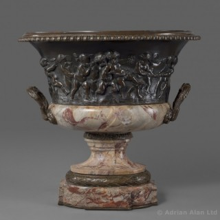 Louis XVI Style Patinated Bronze and Marble Jardinière