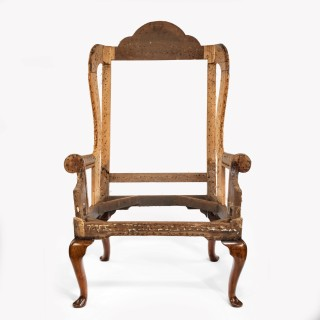 A George I Albigensian wing arm chair of generous proportions.