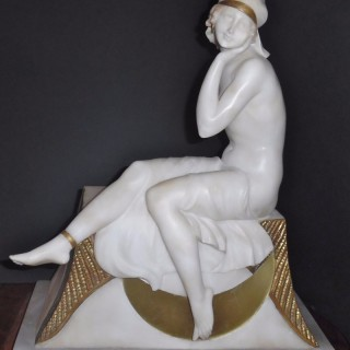 A French Art Deco alabaster lamp