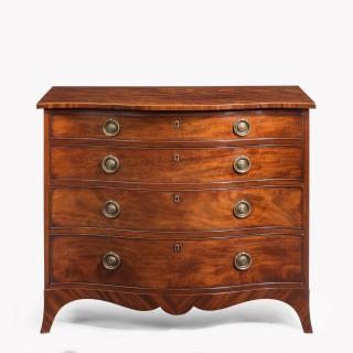 Late George III  Mahogany serpentine  chest of draws