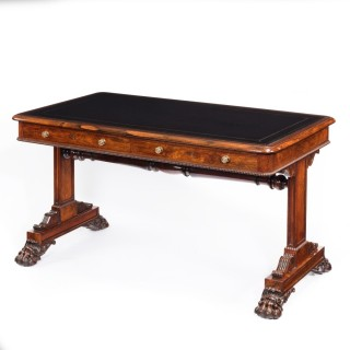 Fine late regency rosewood freestanding library table in the manner of Gillow